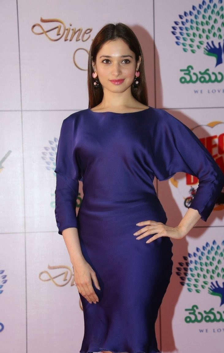 Actress Tamannaah Bhatia Latest Cute Hot Exclusive Beautiful Bule Mini Skirt Dress Spicy Thighs Show Photos Gallery At Memu Saitam Dine With Stars Event