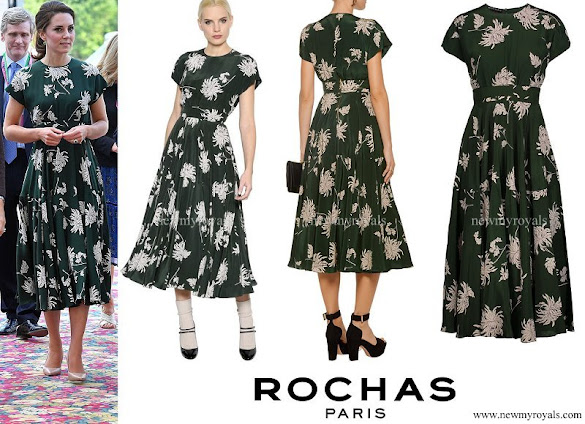 Kate Middleton wore ROCHAS Floral Printed Silk Crepe de Chine Dress