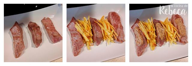 Receta de secreto ibérico con salsa de mostaza: emplatado