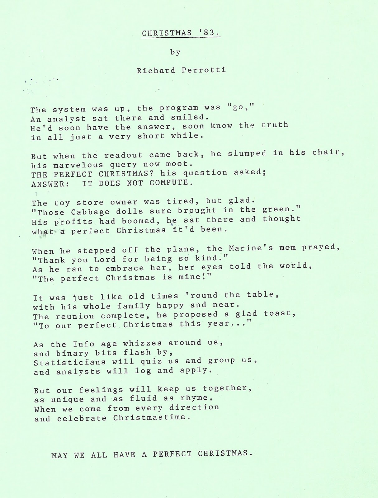 Poems About Christmas Time.Amazed Amused 34 Years Of Christmas Poems Christmas 1983