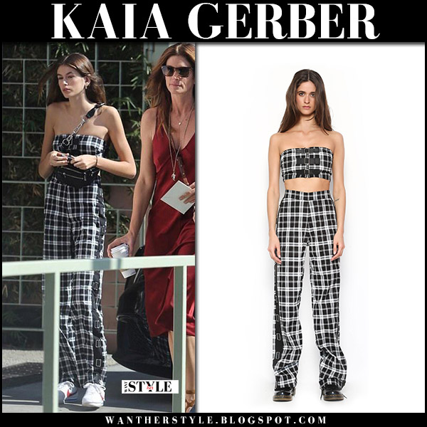 Kaia Gerber in black and white check print crop top and check print pants i.am.gia celebrity style october 15 2017