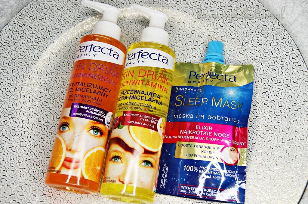 Perfecta Beauty | Rewitalizujący żel micelarny, Orzeźwiająca woda micelarna, Sleep Mask maska na dobranoc