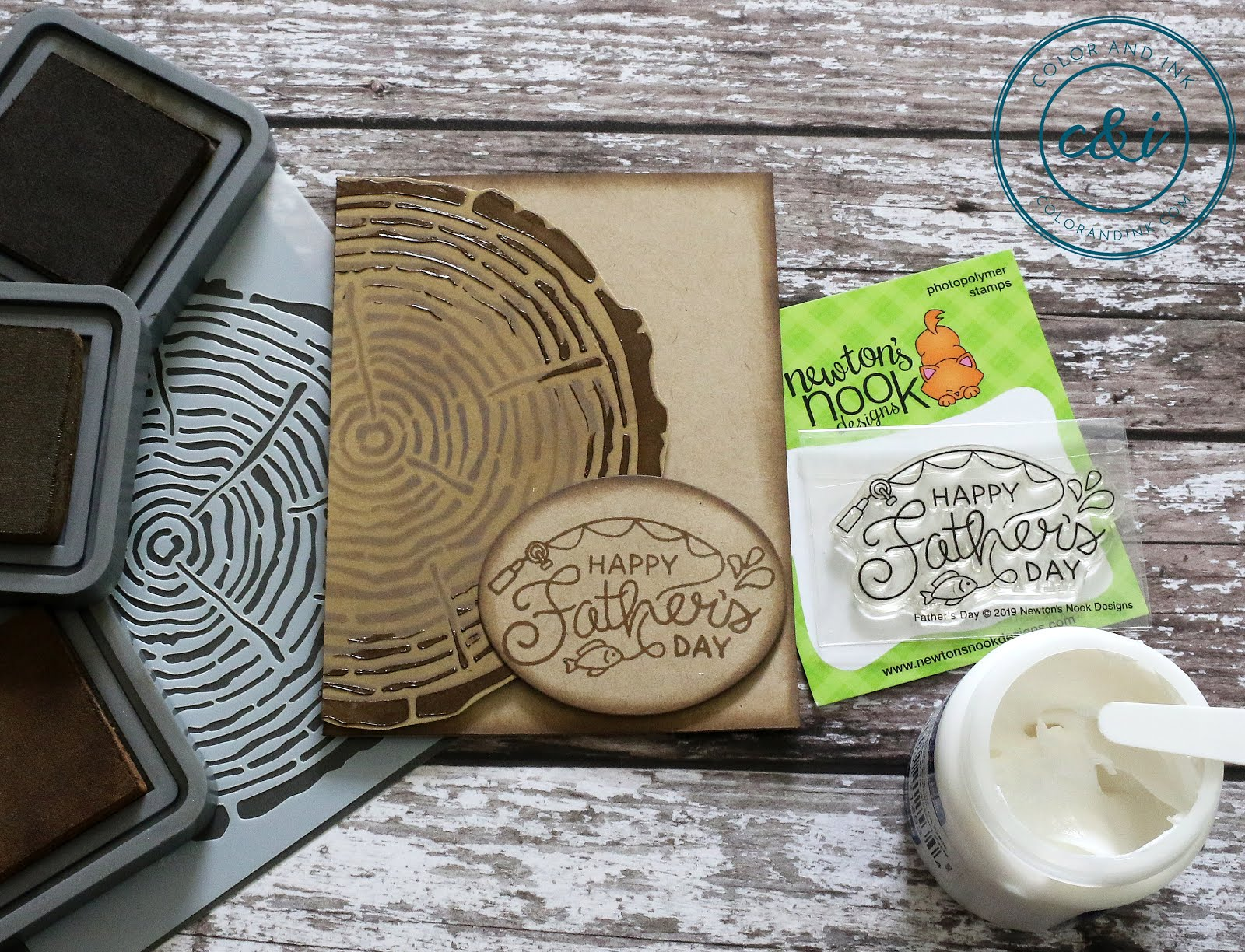 Father's Day Stamp Set and Tree Ring Stencil by Newton's Nook Designs #newtonsnook #handmade