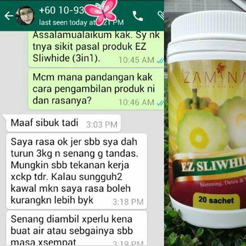 testimoni ez sliwhide, review ez sliwhide, detoks untuk kurus, produk kurus, produk putih