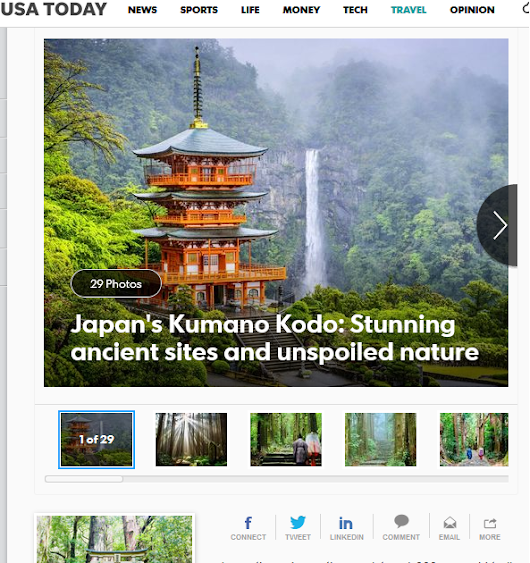Kumano Kodo featured in USA TODAY