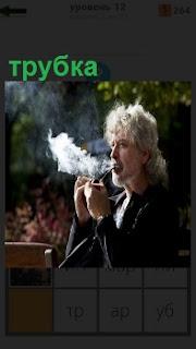 Мужчина с сединой на голове курит трубку из которой идет дым в стороны