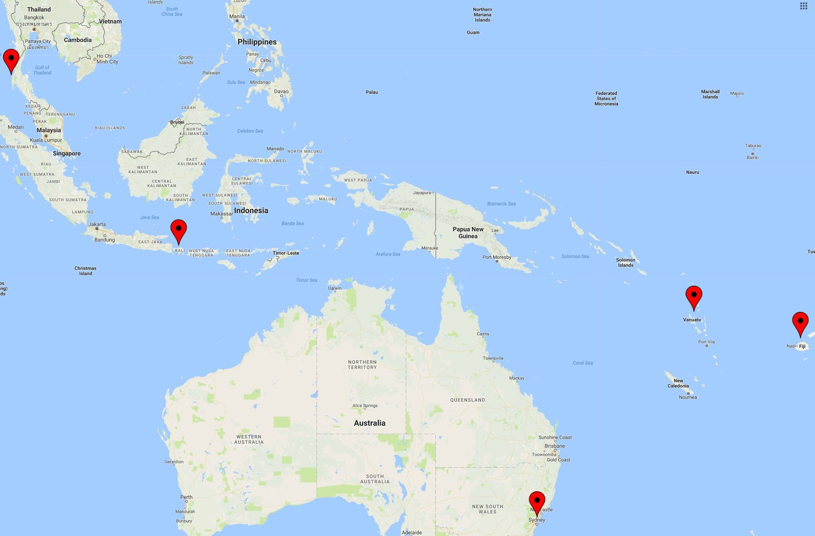 A few thoughts trip to australia phuket bali vanuatu and here is what the trip looks like on a map gumiabroncs Images