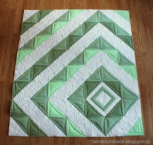 HST Baby Quilt Quilted by Kathy Schwartz of TamarackShack, The Tutorial by Rikka J of Ricochet & Away
