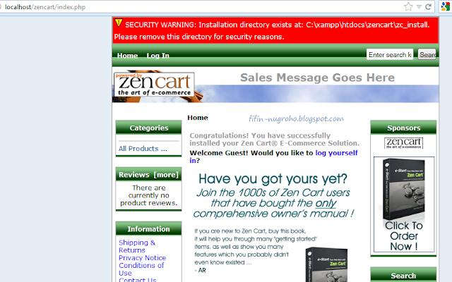 tampilan website zencart