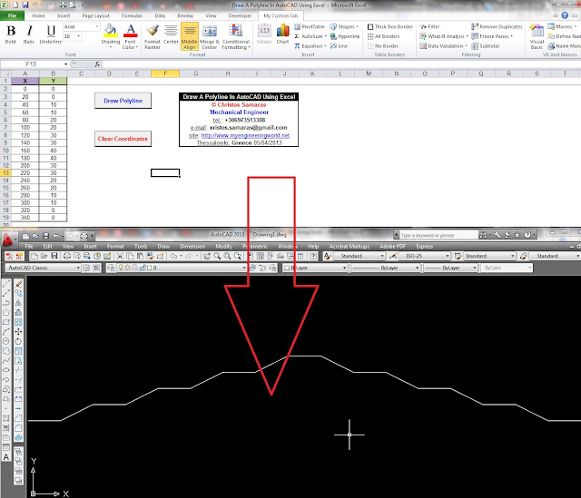 Draw A Polyline In AutoCAD Using Excel VBA – My Engineering World