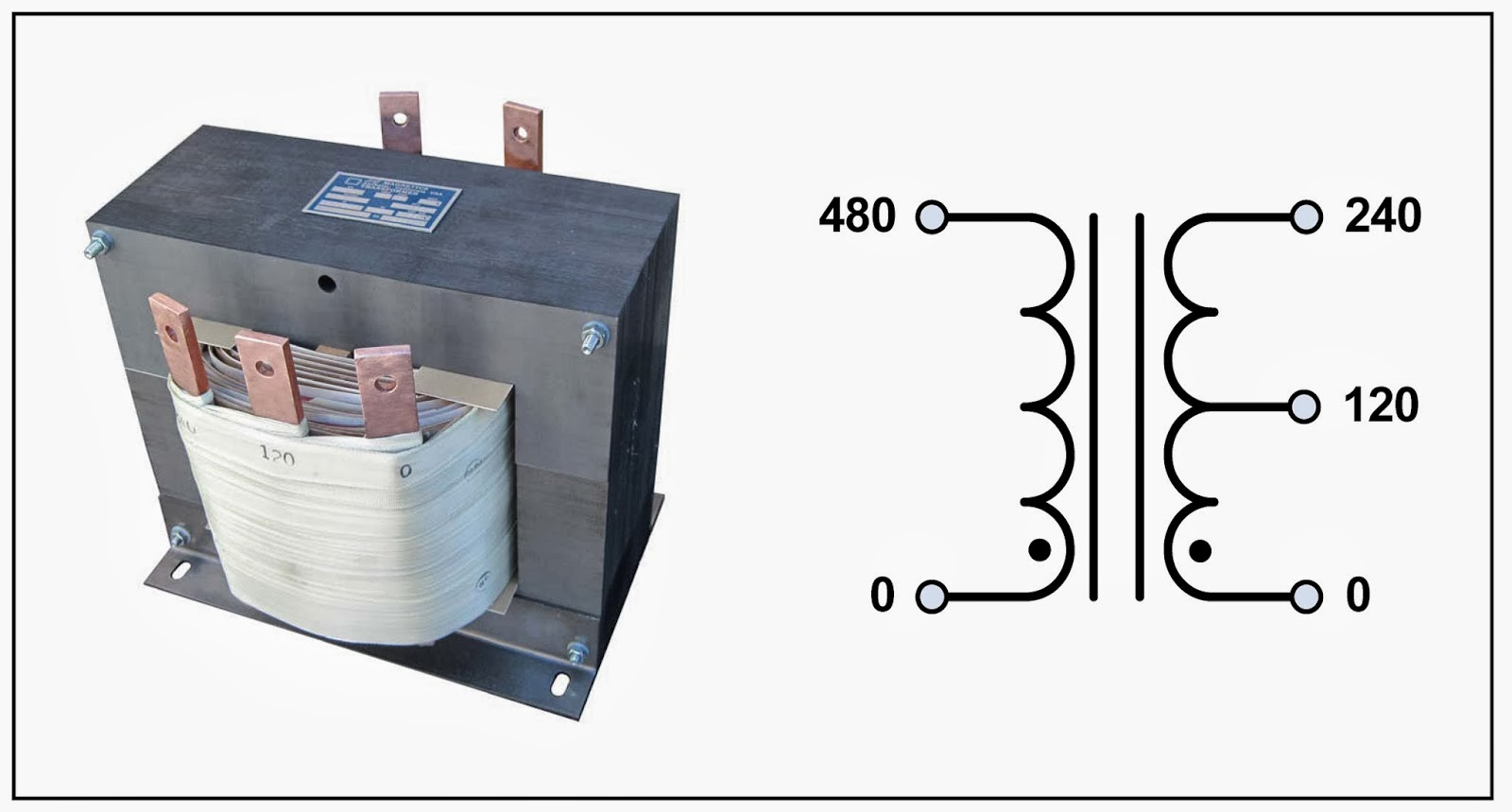 small resolution of centre tap transformer 15 kva p n 18864 input 480 vac output 120 240 vac