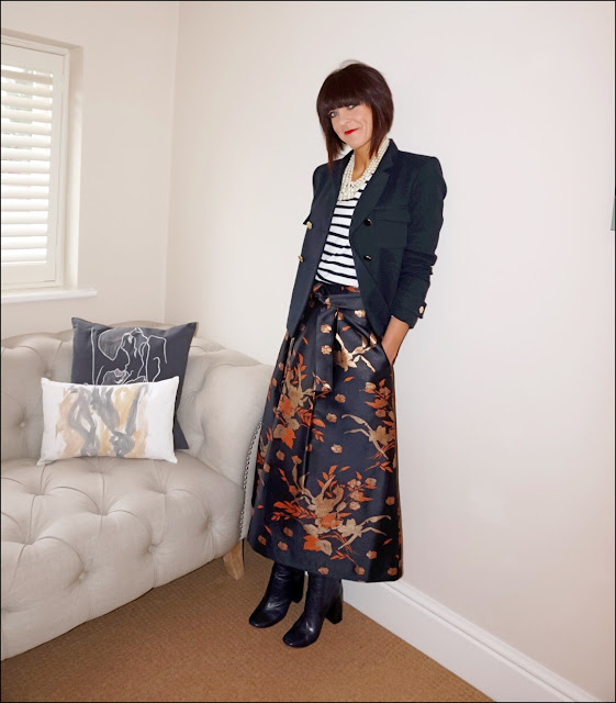 My Midlife Fashion, J Crew twisted pearl hammock necklace, marks and spencer brocade midi skirt, zara double breasted jacket, block heel ankle boots