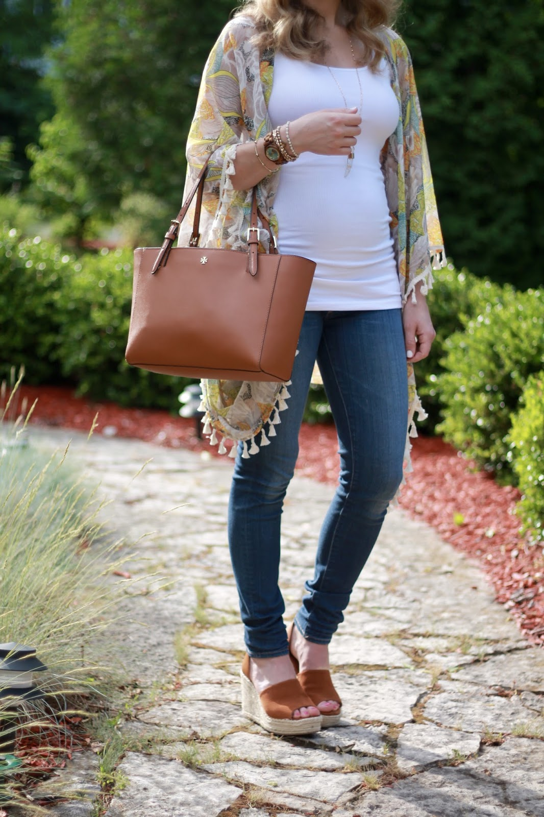 white tank top, yellow floral kimono, AG maternity jeans, Steve Madden wedge sandals, Tory Burch tote