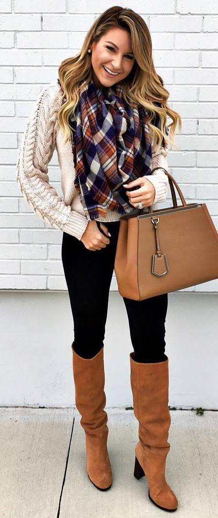 winter trends / knit sweater + bag + scarf + skinnies + boots