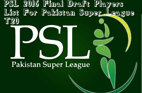 PSL 2016 Final Draft Players List For Pakistan Super League T20