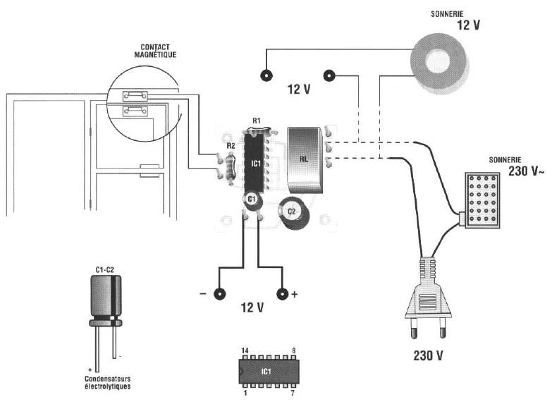 SCHEMA DOOR ALARM: ELECTRONIC REALIZATION Circuit schematic