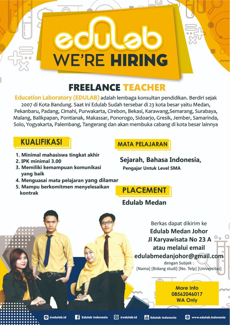 Lowongan Kerja Medan Terbaru Freelance Teacher Di Educatiob Laboratory Edulab Medanloker Com Lowongan Kerja Medan