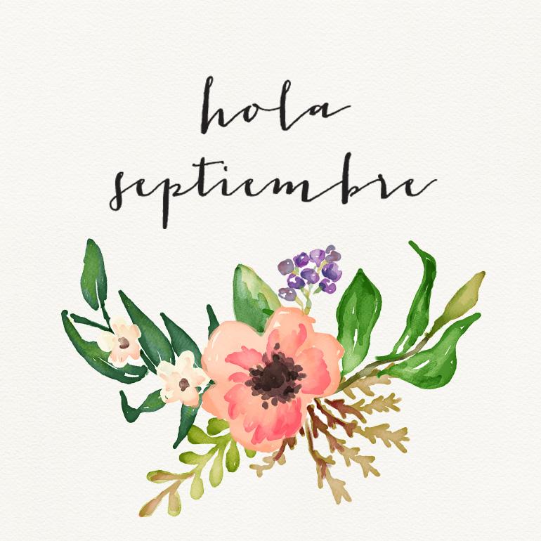 ilustración flores y hola septiembre