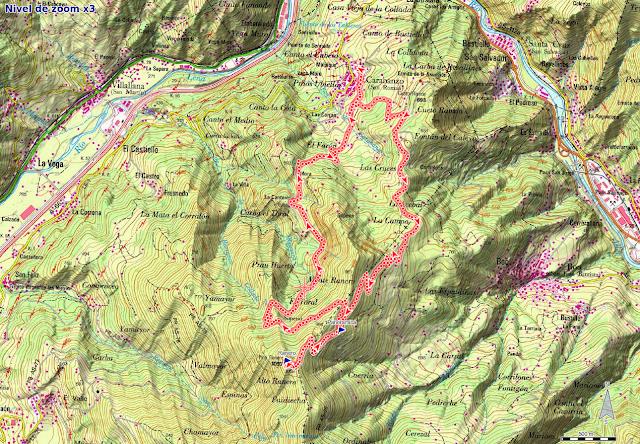 Mapa de la ruta Carabanzo, Pico Ranero