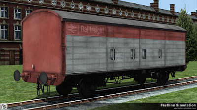 Fastline Simulation: This Railfreight flame red and grey liveried late build VCA with the increased tare weight has lost much of the vibrancy in the livery colours.