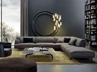 sala moderna sofá gris