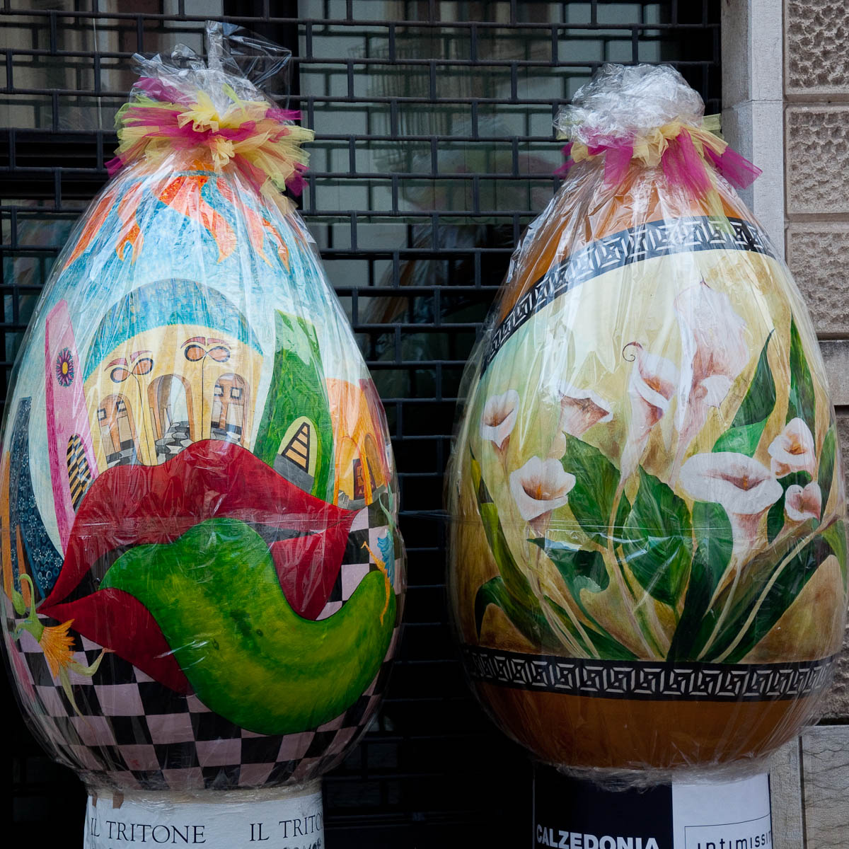 Huge eggs decorating Vicenza, Veneto, Italy
