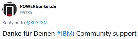 Danke für Deinen #IBMi Community support