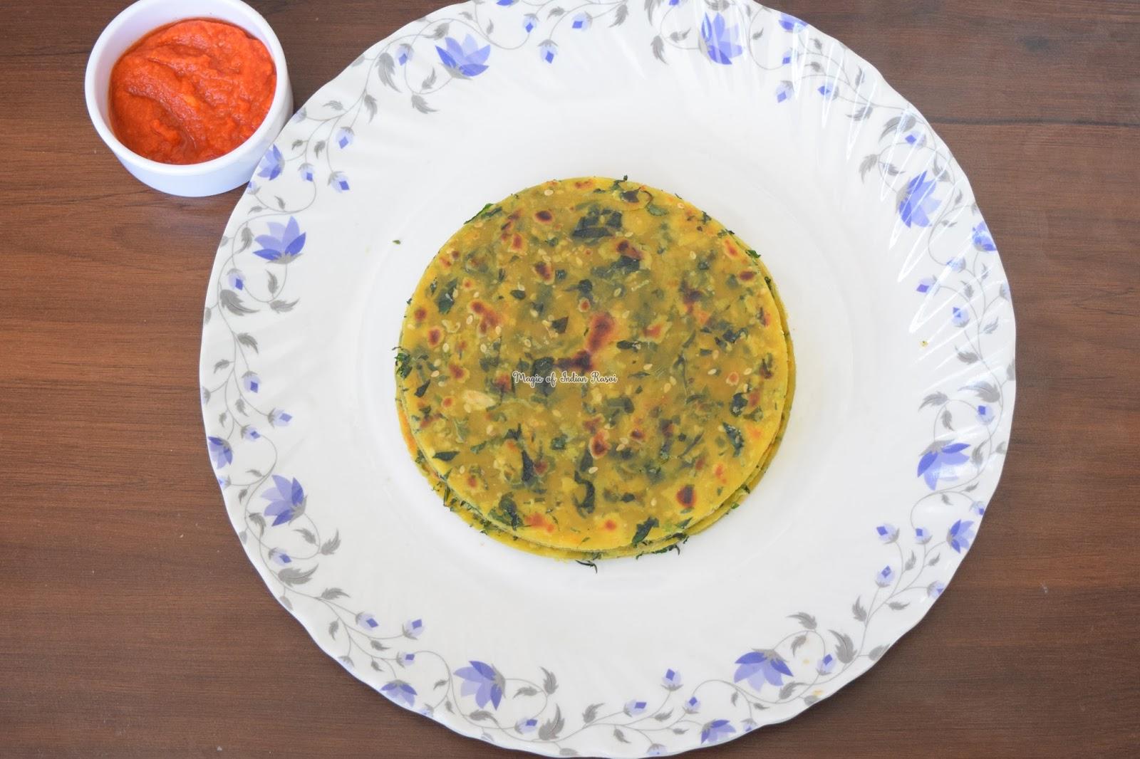 Gujarati Methi Thepla Recipe - गुजराती मेथी थेपला रेसिपी - Priya R - Magic of Indian Rasoi