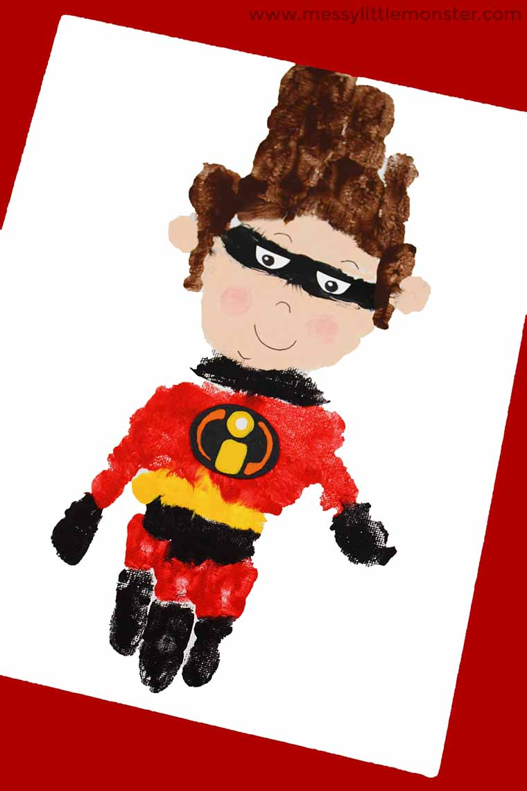 Superhero handprint Craft - The Incredibles 2 superhero activity