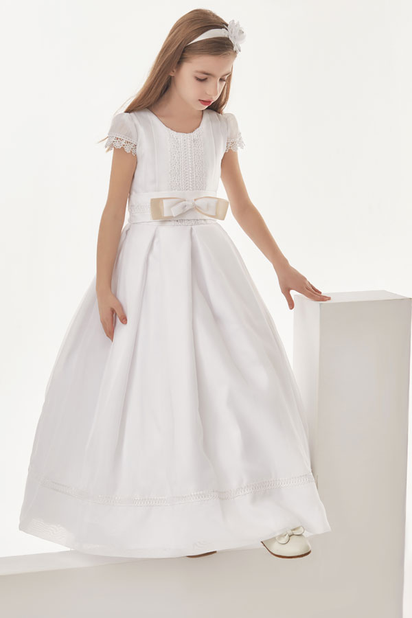 Organza Ball Gown Cap Sleeves Floor Length Communion Dress With Bow