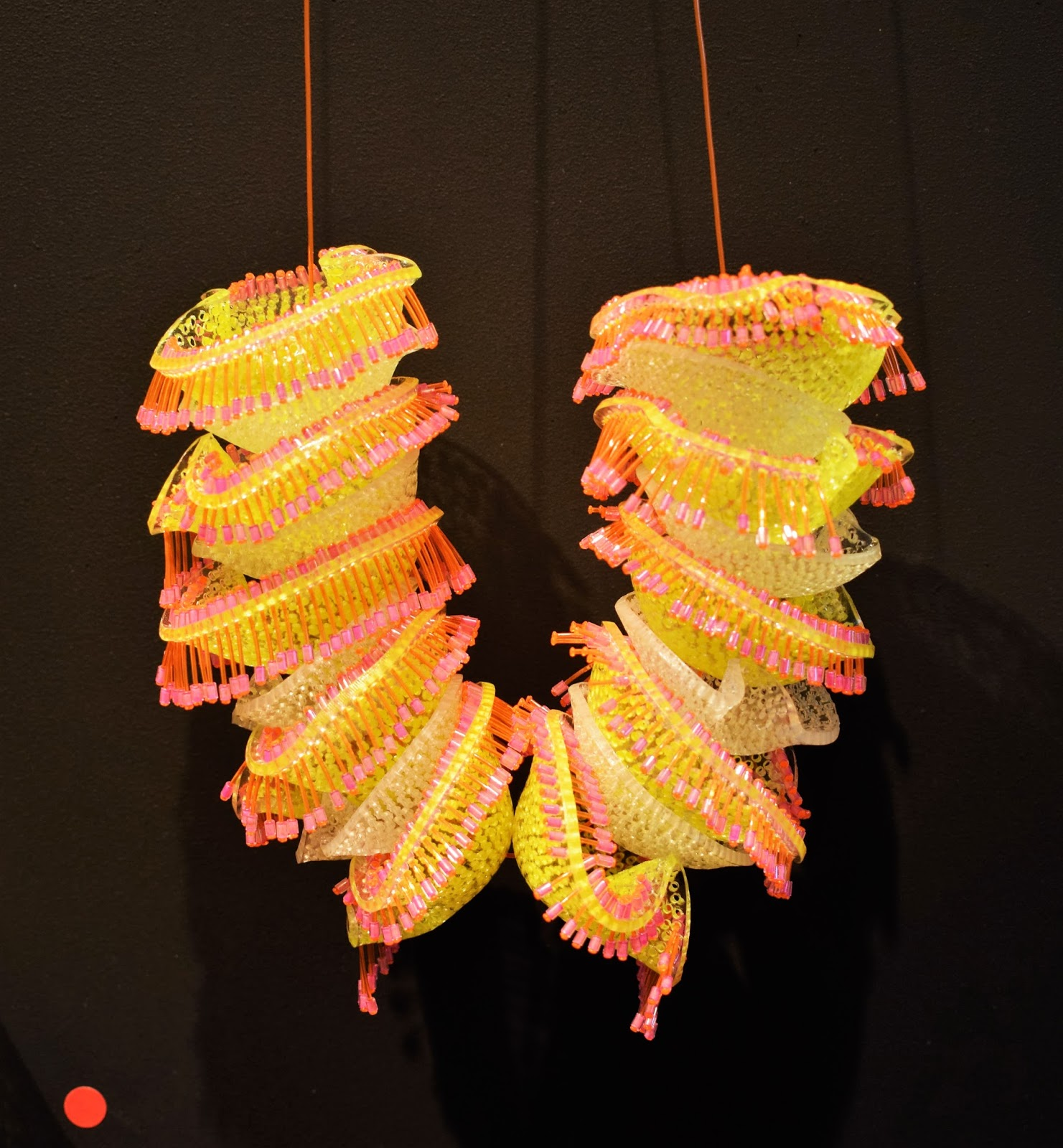 eca degree show 2016, edinburgh college of art graduate, li wanshu jewellery, fluorescent jewellery, sea anenome inspiration, glow in the dark jewellery, emerging designers UK