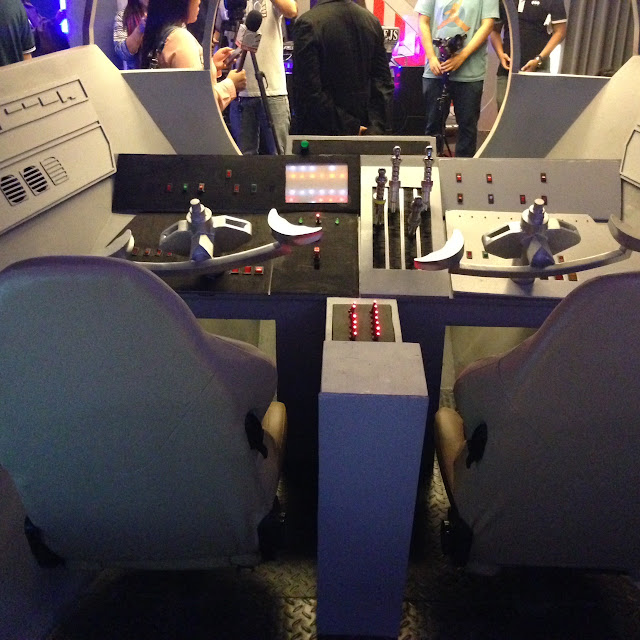 Interior of Interactive cockpit of Space Wars theme room at Victoria Court