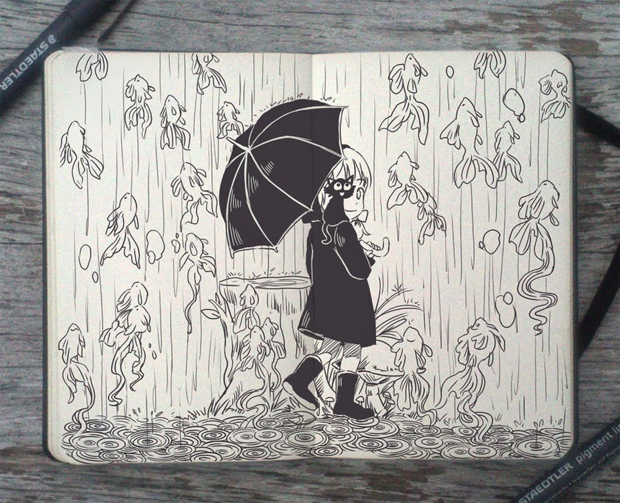 06-After-the-Rain-Gabriel-Picolo-365-Days-of-Doodles-www-designstack-co