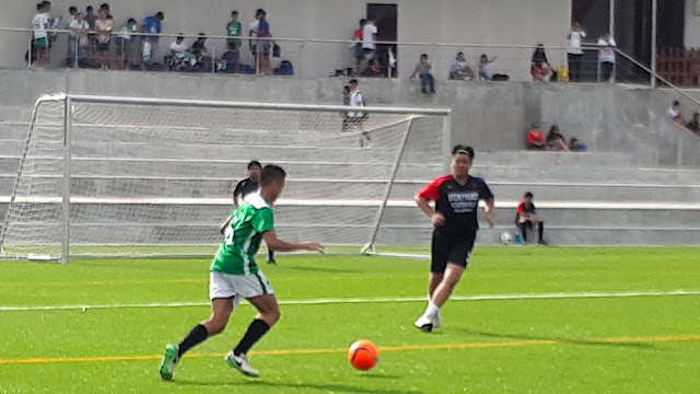 The Green Stallions' Gerard Pena (above with the ball) scored four as his team cruised to victory over Kings FC.