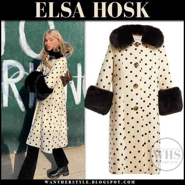 Elsa Hosk in cream and black polka dot coat saks potts model winter style january 27
