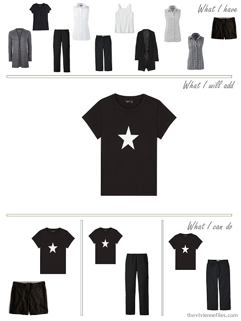 add a fun black tee shirt to a travel capsule wardrobbe