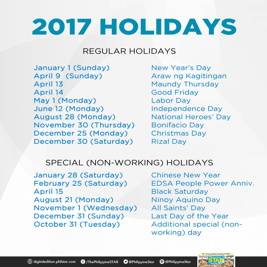 Holidays for 2017 signed by