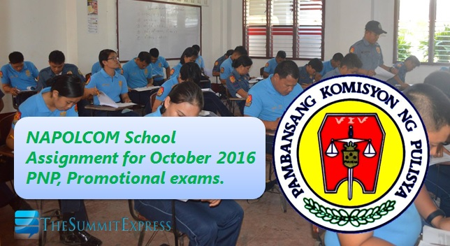Room assignment, test centers for October 2016 NAPOLCOM exam
