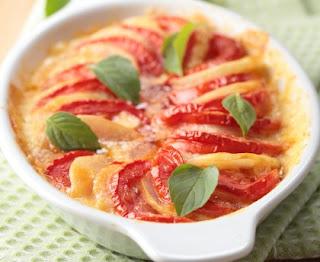 Light potato and tomato gratin