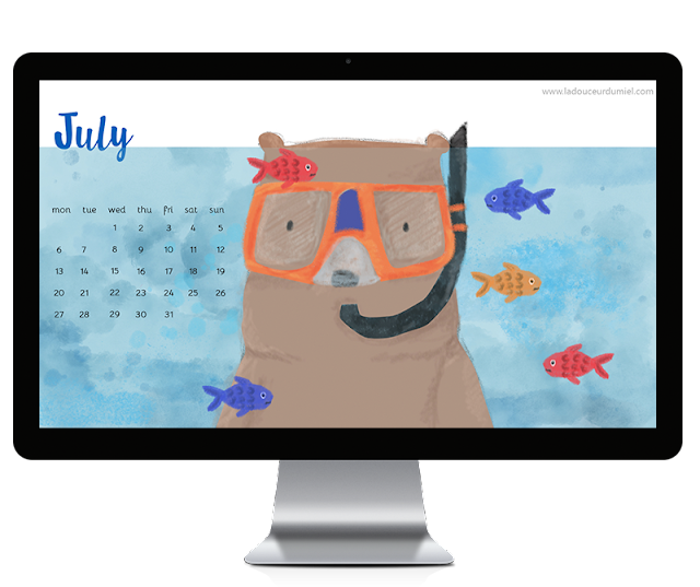 July 2015 free to download illustrated desktop wallpaper with a snorkeling bear under the sea looking at colorful fishes