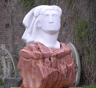 A head in the courtyard