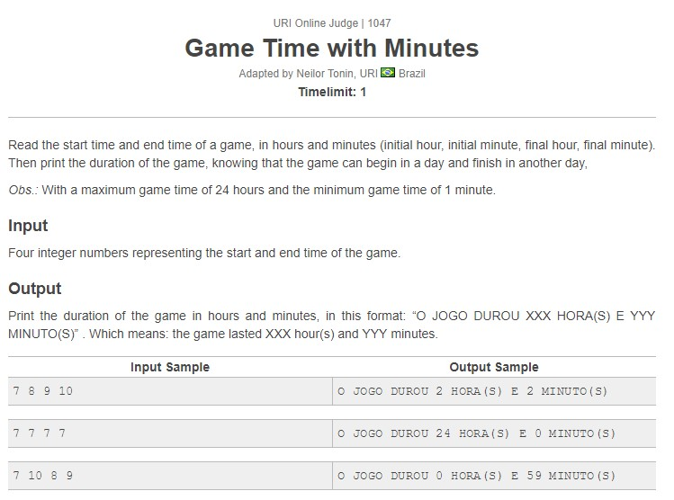 URI Online Judge Solution 1047 Game Time with Minutes