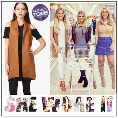 Collared, Faux Suede, Georgia Kousoulou, Jacket, Select, Sleeveless, Sleeveless Jacket, Tan, Textured, The Only Way Is Essex, TOWIE,