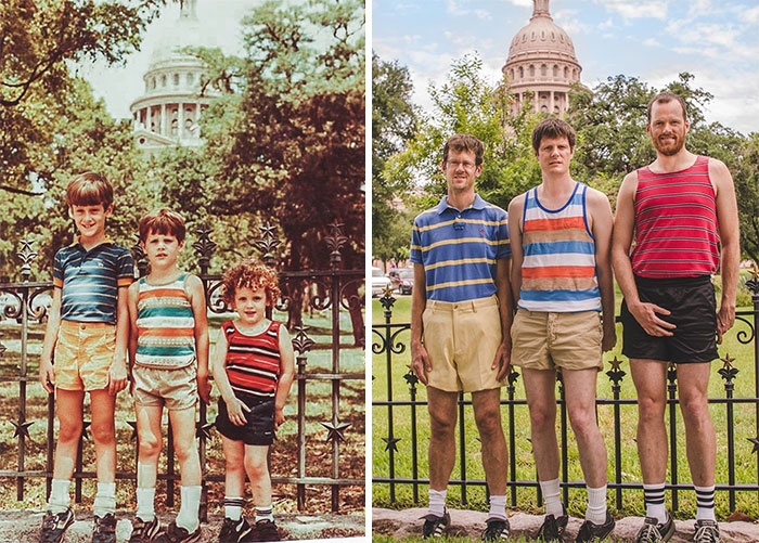 30 Beautiful Recreations Of Childhood Pictures - 29 Years Later, My Brothers And I Recreated Our Family Vacation Photo At The Texas State Capitol