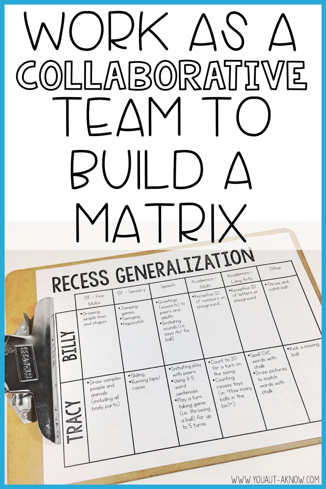 Collaborating with your team is the best way to make sure your students are practicing IEP goals in all areas throughout the day and using an activity matrix is one of my favorite ways to make sure students generalize these skills.