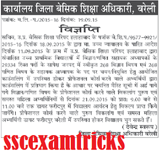 UP JRT Math-Science Appointment for Bareilly