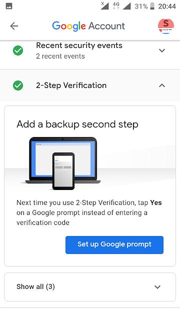 google backup codes