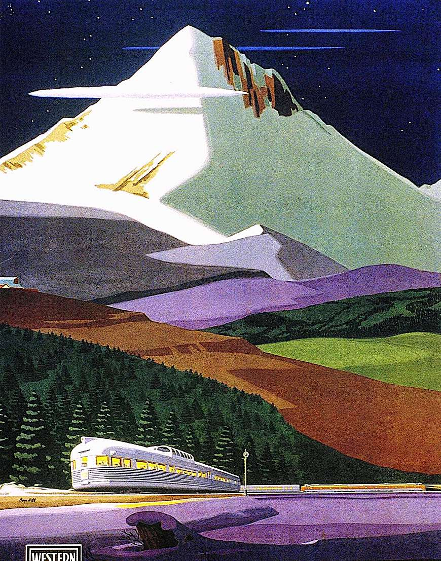 1950 illustration of a train in snowy mountains, Western Rail