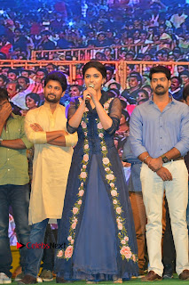 Actress Keerthi Suresh Stills in Blue Long Dress at Nenu Local Audio Launch  0052.JPG