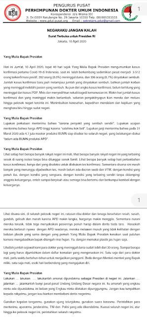 Surat Dokter Indonesia Untuk Jokowi